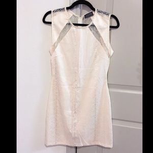 New! ASTR pearly snakeskin & lace ivory dress L